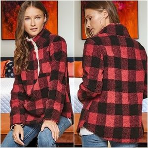 Infinity Raine Red Buffalo Print Cozy Pullover